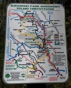 Ojców - Szlaki Turystyczne - Mapa (zobacz w pełnym rozmiarze)